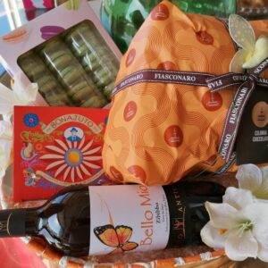 Confezione regalo Pasqua 2021 Cesto di rafia ovale con macarons
