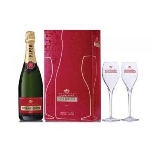 Champagne Brut Piper Hiedsieck astuccio con 2 flutes